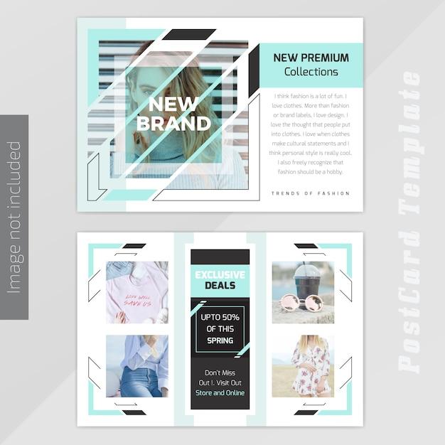 Fashion post card design template Premium Vector