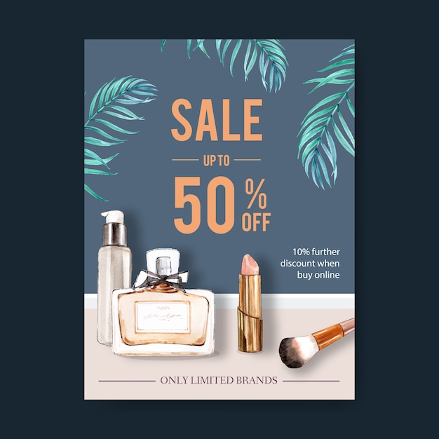 Fashion poster design with cosmetics watercolor illustration. Free Vector