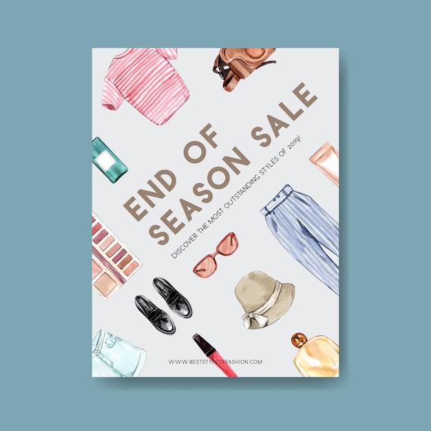 服、化粧品、アクセサリーの水彩イラストのファッションポスターデザイン。 無料ベクター
