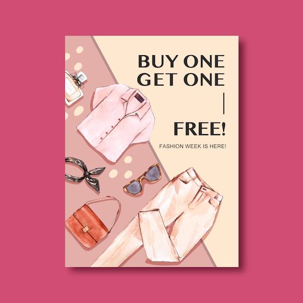 Fashion poster with shirt, pants, handbag Free Vector