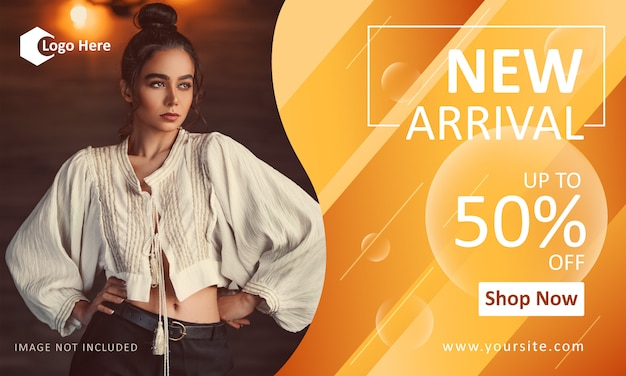Fashion promotion banner template for new arrival Premium Vector