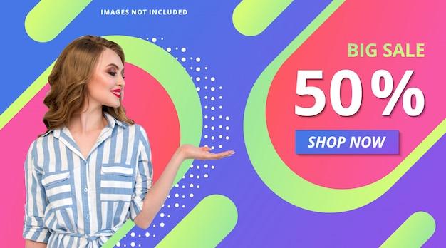 Fashion promotion store banner gradient modern background template Premium Vector