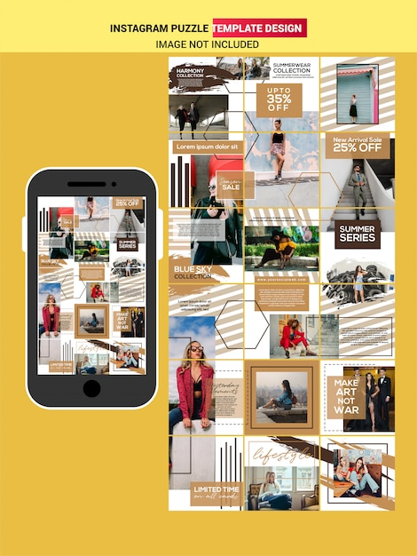 Fashion puzzle post template design Premium Vector