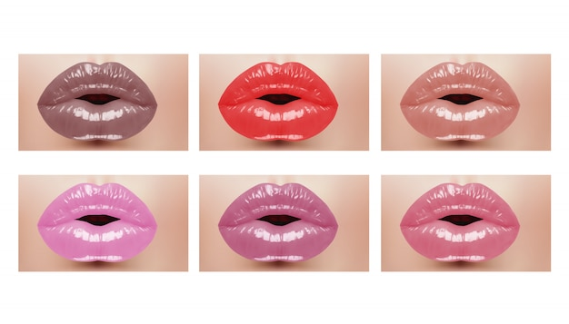 Fashion realistic woman mouth with color lips. vector illustration. Premium Vector