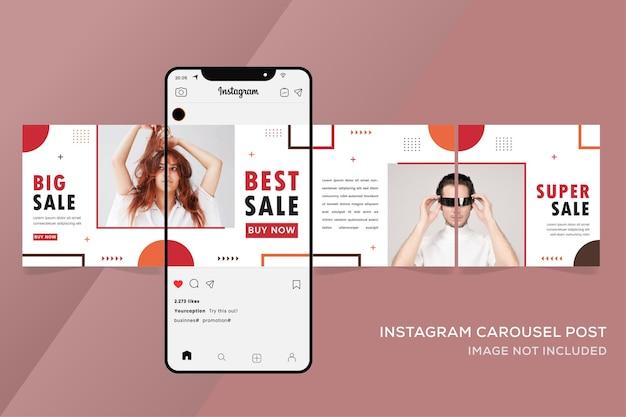 Instagram 회전 목마 템플릿에 대한 기하학적 패션 판매 배너 프리미엄 벡터