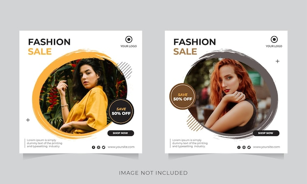ソーシャルメディア投稿テンプレートのファッションセールバナーまたは正方形のチラシ Premiumベクター