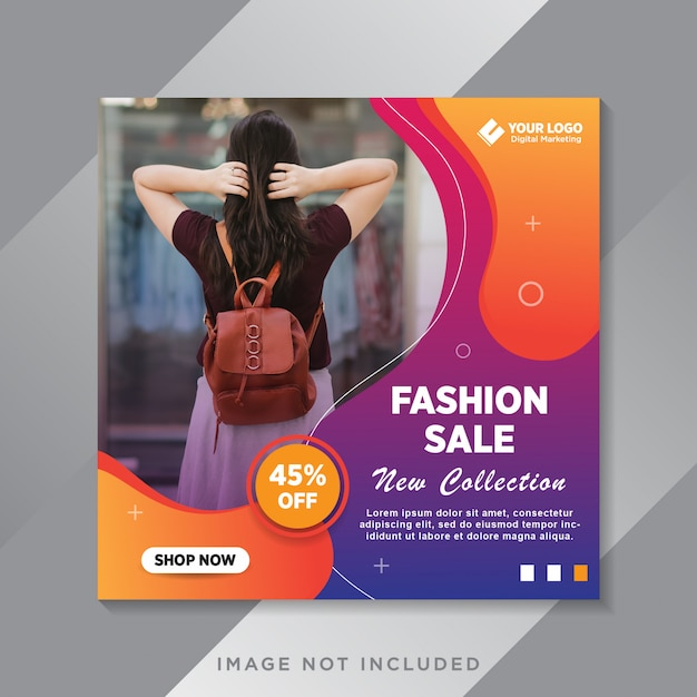 Fashion sale banner or square flyer for social media post template Premium Vector