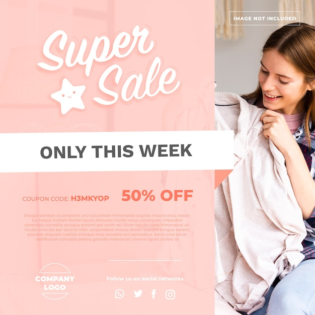 Fashion sale banner with photo Free Vector