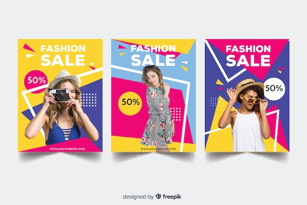 Fashion sale banners collection Free Vector
