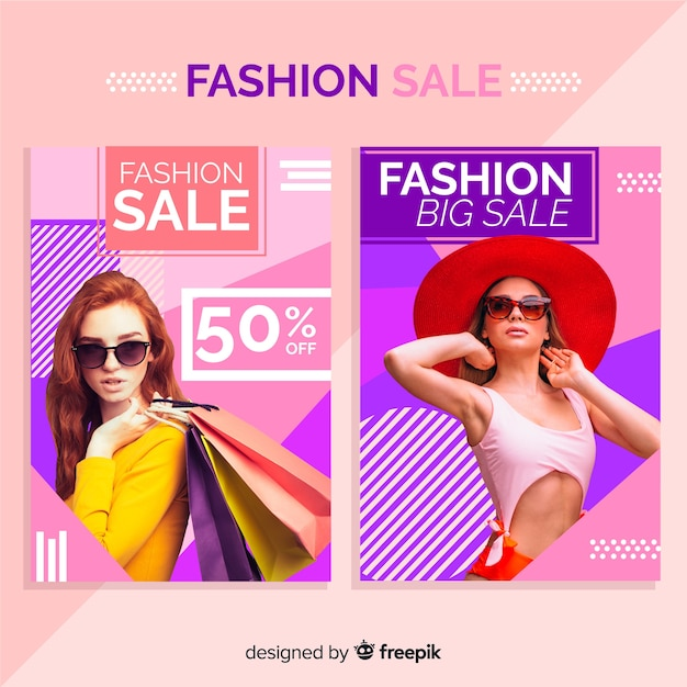 Fashion sale banners Free Vector