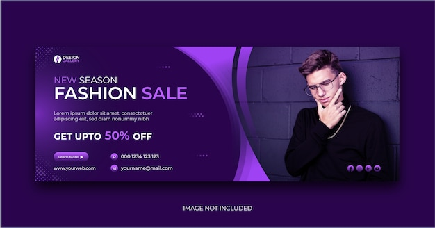 Fashion sale cover banner design social media template Premium Vector