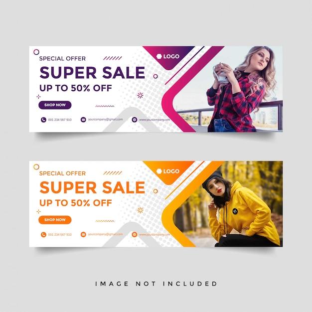 Fashion sale facebook cover banner template Premium Vector