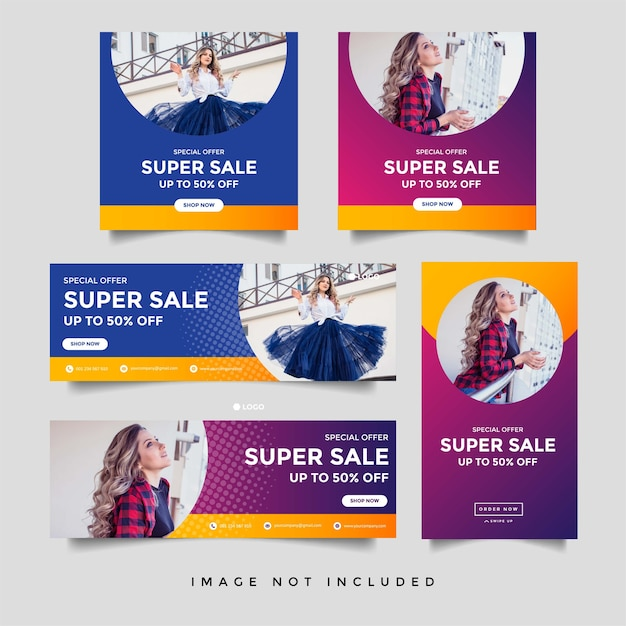 Fashion sale facebook cover social media and instagram stories banner template Premium Vector