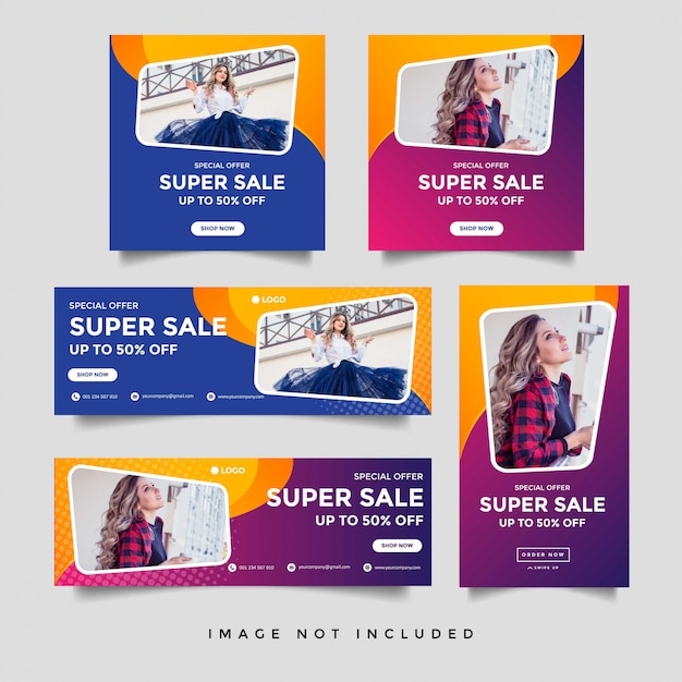 Fashion sale facebook cover and square banner template Premium Vector