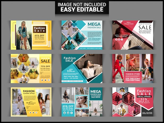 Fashion sale horizontal flyer set Premium Vector