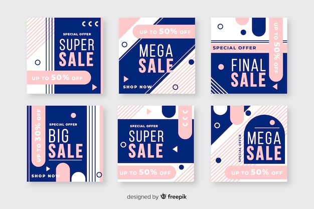 Fashion sale instagram post collection Free Vector
