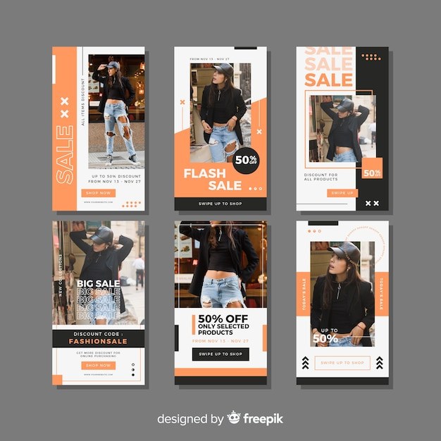 Fashion sale instagram stories collectio Free Vector