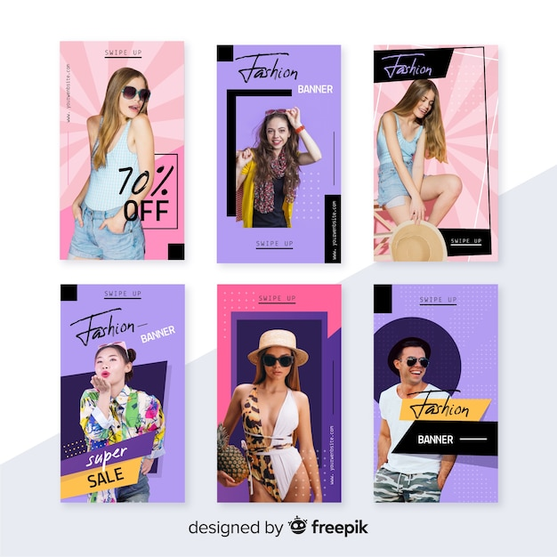 Fashion sale instagram stories collection with photo Free Vector