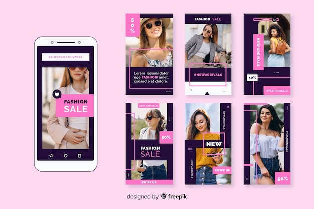 Fashion sale instagram stories collection Free Vector