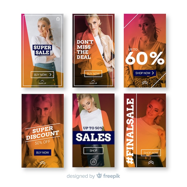 Fashion sale instagram stories templates Free Vector