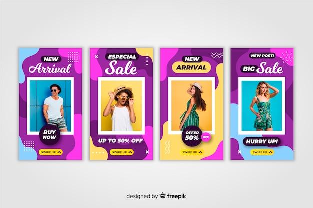 Fashion sale instagram stories Free Vector