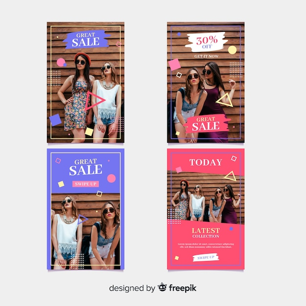 Fashion sale instagram stories Free Vector