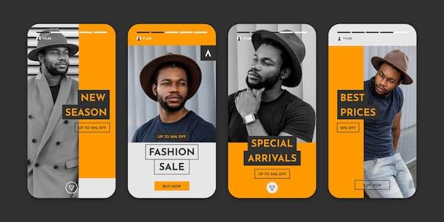 Collezione di storie di instagram di vendita di moda Vettore gratuito