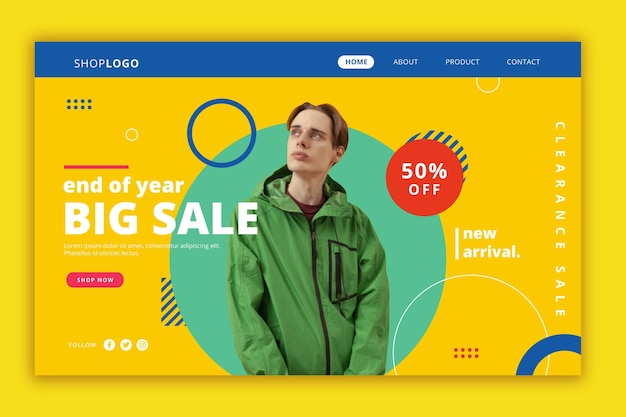 Fashion sale landing page theme Free Vector