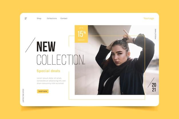 Pagina di destinazione di vendita di moda con foto Vettore gratuito