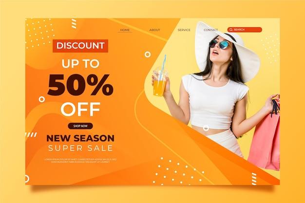 Fashion sale - landing page Premium Vector