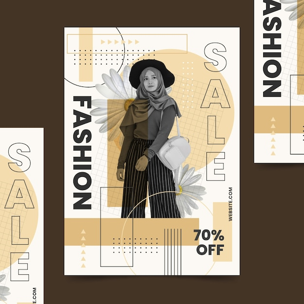Free Vector Fashion Sale Poster Template With Model