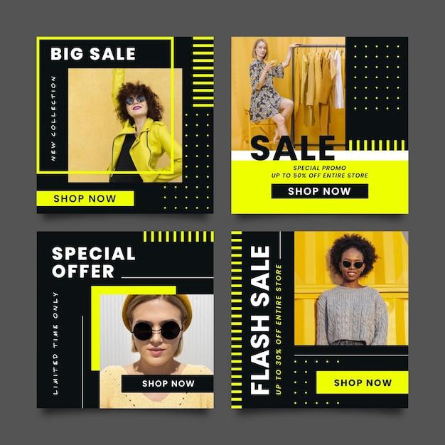 Набор постов продажи моды Бесплатные векторы