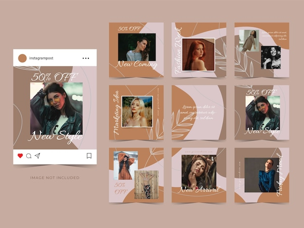 Fashion sale social media advertisement template banner for post promotion. Premium Vector