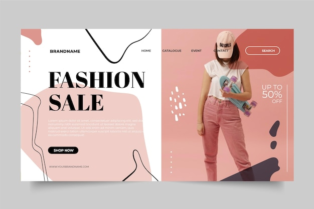Fashion sale template for landing page Free Vector