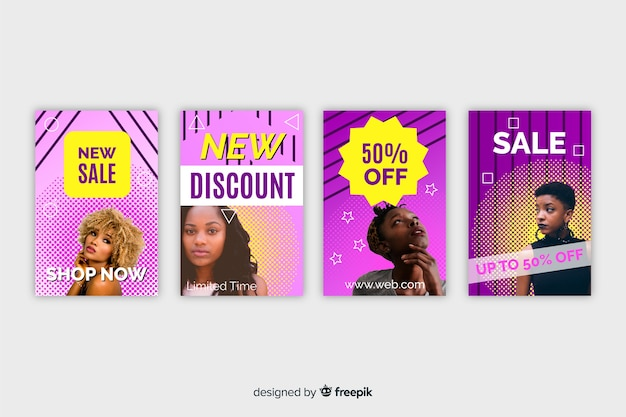 Fashion sales banner Free Vector