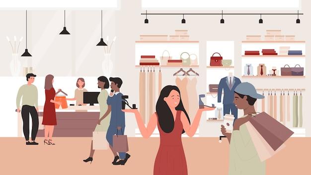 衣料品店イラストのファッション販売。割引特別オファーを使用して男性女性の顧客キャラクター、ファッションストア、ショッピングモールの背景で新しい服を購入するバイヤーの人々 Premiumベクター