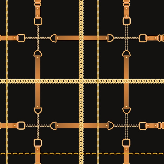 Fashion seamless pattern with golden chains and straps. chain, braid and jewelry elements background