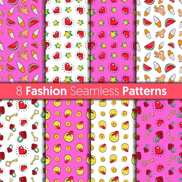 ファッションのシームレスなパターンセット。レトロなコミックスタイルの心、手、お金、星、お菓子のファッション背景 Premiumベクター