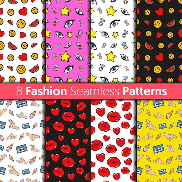 ファッションのシームレスなパターンセット。レトロなコミックスタイルの心、唇、目、星、顔文字のファッションの背景 Premiumベクター