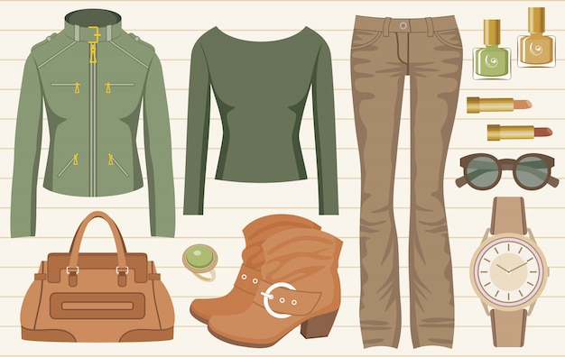 Fashion set with jeans and a jacket Premium Vector