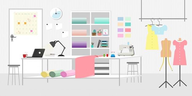 Fashion or sewing studio room horizontal Premium Vector