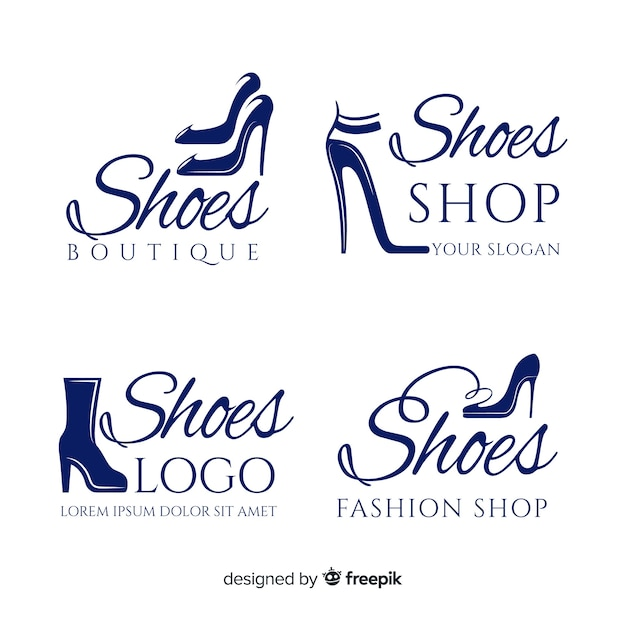 Fashion shoe logos Free Vector