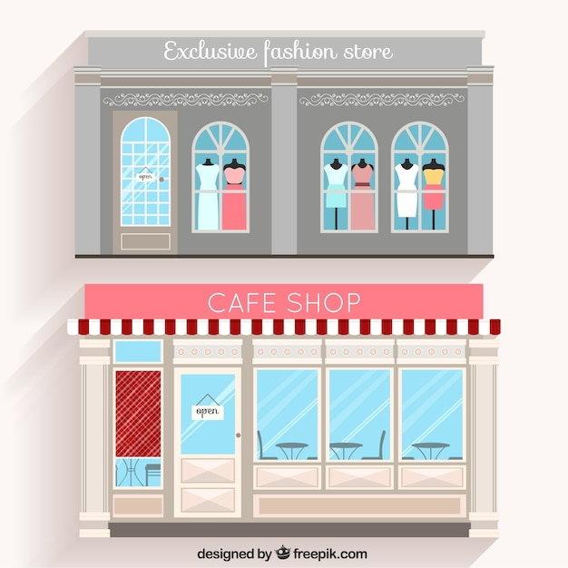 Fashion Shop And Cafe Facades In Flat Design Vector Free