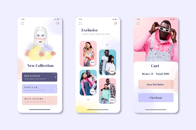 Fashion shopping app screens collection Free Vector
