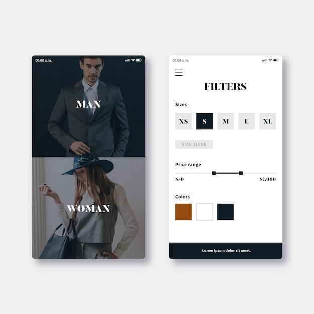 Шаблон приложения для модных покупок Бесплатные векторы