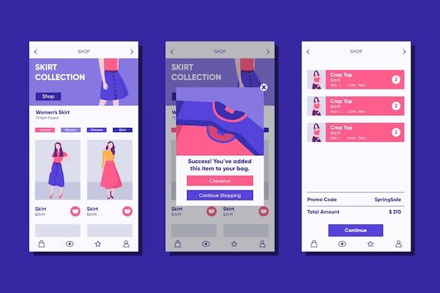 Modello di app per lo shopping di moda Vettore gratuito