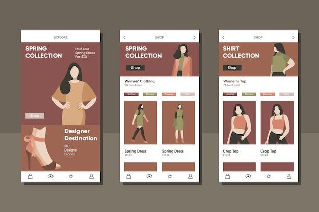 Modello di applicazione per lo shopping di moda Vettore gratuito