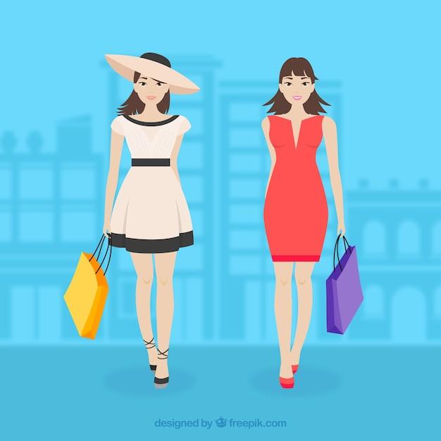 e5f1354a0893 Fashion shopping girls vector art Vector