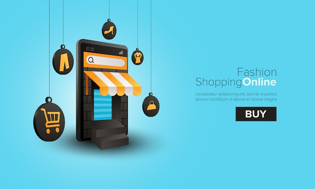 Fashion shopping online on mobile Premium Vector