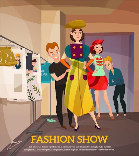 Illustrazione dietro le quinte della sfilata di moda Vettore gratuito